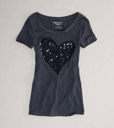 Women's AE Squined Heart T-Shirt