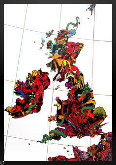 Great Britain animals map by Tim Watkins