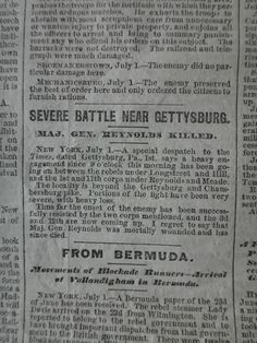 Gettyburg newspaper account