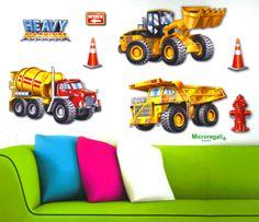 Adesivi Murali 3D CAMION E RUSPE cm 41 x 29 per cameretta bambini. - Adesivi Cameretta - Regali per i BAMBINI