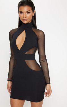 Black High Neck Keyhole Mesh Insert Bodycon Dress