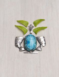 Vintage Sterling Silver Scarab Pendant - turquoise faience beetle double Nefertiti head - Egyptian souvenir by CuriosityCabinet on Etsy