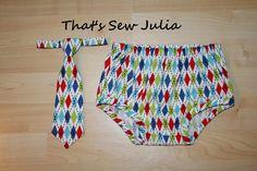 Retro Argyle Baby Boy Diaper Cover and Tie set by ThatsSewJulia, $25.50