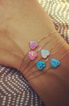 so lovely opal heart bracelets