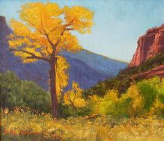 SOLD I Autumn Tree I 7x8 I Dix Baines I Fine Artist Original Oil Paintings I Mountains I Gateway Colorado I www.dixbaines.com
