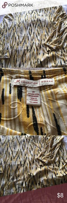 """Yellow print top 2X Cute yellow/black print top size 2X approx 28"""" from shoulder to hem JM Collection Tops Tees - Long Sleeve"""