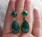 Vergulde zilveren oorbellen met facet groene Onyx