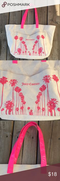 """Juicy Couture tote bag. Perfect beach bag! 🏝 GUC canvas tote bag with hot pink patent handles by Juicy Couture.  This is a great bag!! Inside has a hot pink lining.  There's a few spots that have some dirty spots on the outside.  I've taken pics of them, they're not noticeable when using.  Great beach 🏝 bag!! Approx dimensions:  14"""" across, 13"""" tall and 5 1/2"""" deep. Juicy Couture Bags Totes"""