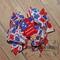 4th of July Flag Pop Digital Hair Bow Center Embroidery Design Machine Applique