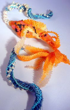 Kanagawa Koi III necklace. Sculptural Beadwoven Koi by gypsyeyesjewelry, $1200.00. This qualifies for art in my book!