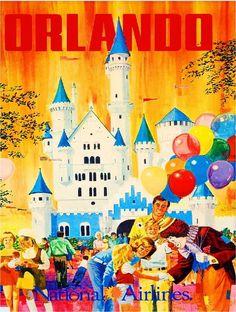 Orlando Florida United States of America Vintage Travel Advertisement Poster