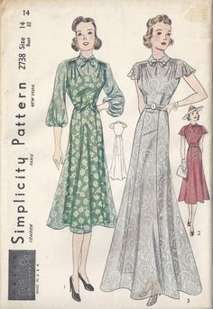 Simplicity 2738   1937 Junior Party Dress with flared skirt and epaulette sleeves.