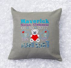 Birth Status Pillow Case Embroidered New Baby by MagicEmbroidery