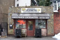 Greenwich Locksmith's building has a decorative facade that is made out of thousands of keys. This is cool.