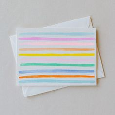 Multi Stripe Card Set - Charlotte Lane - Bright multicolor striped cards, perfect for thank you notes or stationery. Available in flat or folded. Set of 8, $30.