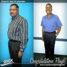 """Congratulations to Floyd R. from Coconut Creek, Florida for losing 37 pounds on the Quick Weight Loss Centers program!   """"My favorite part of the QWLC program was the counselors and their one-on-one advice. I have cut my medications in half, I work out and do not get winded, and I can now read a plate to understand what I should and should not eat. The only 'negative' thing is that I've had to buy all new clothes and belts, because I could no longer put holes in my belts to make them…"""