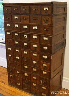 This antique card catalog is the latest of my AMAZING (and cheap!) finds… You should SEE the list of things I've scored on Craigslist!!