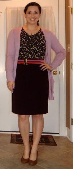leopard, striped belt, maroon skirt, light purple cardigan Maroon Skirt, Purple Cardigan, Work Fashion, Light Purple, Business Casual, Style Inspiration, Belt, My Style, Skirts