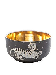 Waylande Gregory Tiger Large Chubby Bowl, Brown/Gold