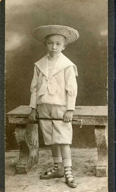Boy in sailor suit with walking stick | Budapest 1890-1900