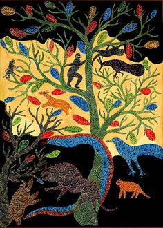 """The Friendship of of the Tiger and the Boar,""""   an acrylic on canvas painting by Gond tribal artist   Jangarh Singh Shyam (1960-2001), c. 1989"""