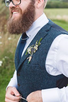 Beardy Groom with Tweed Waistcoat | The Barn at Brynich Wales | Rustic Wedding | Natalie Martin Photography | http://www.rockmywedding.co.uk/liz-nathan/
