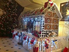 The delicious home-made Christmas Gingerbread House at Lough Eske Castle Christmas Gingerbread House, Christmas Tree, Donegal, Castle, Homemade, Holiday Decor, Home Decor, Teal Christmas Tree, Decoration Home