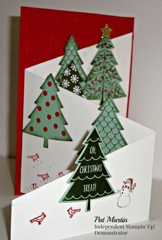Christmas is my favorite time of year. Here is my card of many trees. Hope y… – Christmas DIY Holiday Cards Christmas Card Crafts, Homemade Christmas Cards, Christmas Cards To Make, Xmas Cards, Christmas Greetings, Diy Cards, Homemade Cards, Handmade Christmas, Christmas Trees