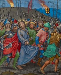 Simon Bening - The Arrest of Christ - Savior, Jesus Christ, Maundy Thursday, Images Of Christ, Medieval Paintings, Life Of Christ, Jesus Face, Late Middle Ages, Getty Museum