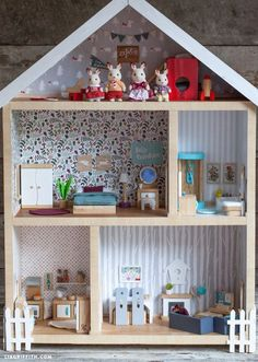 cutest dollhouse ever, has plans for building, uses bunnies and furniture but diy decor, awesome!