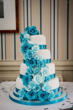 turquoise and fushia wedding cakes | Turquoise Rose Cascade Wedding Cake - by SugarMummyCupcakes ...