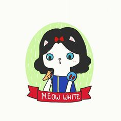 Meow White by Winda Lee 🍎  #disneyprincess #snowwhite #catlover #cutedrawing #drawings #doodle #windalee #dailydoodle #princess #fantasy #fairytale #illustrations