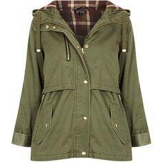 TOPSHOP Hooded Lightweight Jacket (170 HRK) ❤ liked on Polyvore featuring outerwear, jackets, coats, casacos, khaki, light weight jacket, khaki hooded jacket, khaki green jacket, lightweight cotton jacket and lightweight hooded jackets