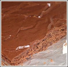 Texas Sheet Cake...almost exactly like the one we love except I use the full 2 cups of sugar, and add 1/2 t. cinnamon and 1/2 a teaspoon of vanilla to what's already called for in the recipe.  Trust me, those additions make all the difference.  Chocolate perfection.