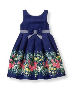 Fresh florals sweeten our party dress in cotton chintz sateen. Pleated silhouette features a permanent striped ribbon belt with bow accent. Kids Outfits Girls, Little Girl Dresses, Girl Outfits, Girls Dresses, Baby Dresses, Dress Girl, Fashion Outfits, Baby Dress Design, Frock Design