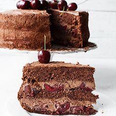 Tort czekoladowy z wiśniami lub czereśniami. Tort z musem czekoladowym i wiśniami. Tort Choc and Cherry. Tort z musem czekoladowym i czereśniami.