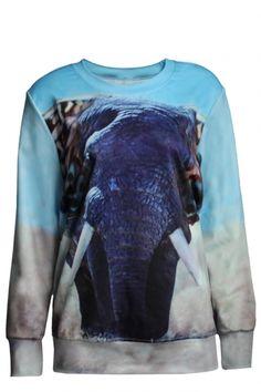 Elephant Pattern Print Round Neck Sweatshirt with Long Sleeve