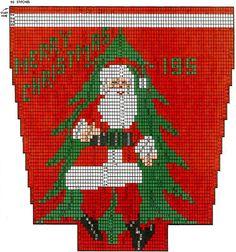 Full Figure Santa Claus Stocking Pattern #9005C chart. Santa Claus chart graph Knitted Christmas Stocking Patterns, Vintage Christmas Stockings, Diy Christmas Presents, Xmas Stockings, Christmas Stocking Stuffers, Christmas Knitting, Needlepoint Patterns, Knitting Patterns, Crochet Patterns