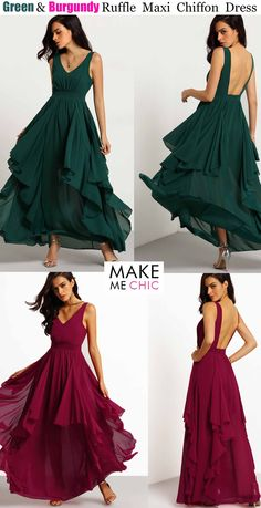 Be a show stopper in a voluminous , modern, and sophisticated chiffon maxi dress. This gorgeous number features feminine layered ruffles, a center ruched bodice with waistband, and a sexy open back cut. Topped off with a dramatic hem creating a fluid and feminine design. Pair with single sole heels for a drop dead gorgeous ensemble.