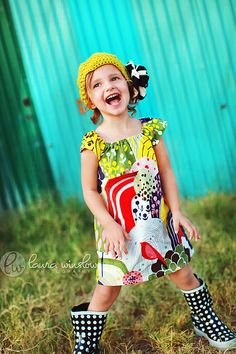 Girls Peasant Dress . Tunic . Floral Garden . Modern Childrens Clothing by The Fresh Stitch