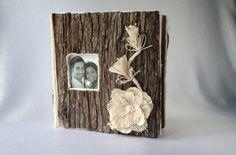 Wedding/Album/Wood wedding album/Rustic album/Burlap album/Wooden Album/Vintage album/Cedar bark/Scrapbook/Rustic wedding album/