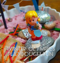 Winter Olympics Playdough Fun including recipe for a super-white winter wonderland playdough Craft Activities For Kids, Stem Activities, Projects For Kids, Crafts For Kids, Activity Ideas, Homemade Playdough, Winter Olympics, Diy Clay, Sensory Play