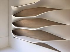 Corian Thermoformed shelves with a solid wood backing. #seamlesssophistication #decortops