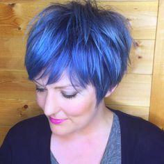 Blue pixie cut.  haircut by meeee, color by Neal Malek.