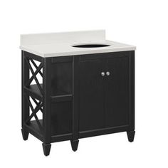 Hayes Contemporary 36 in. Vanity in Black with Engineered Stone Vanity Top in White $499.00