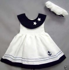 Baby Sailor Girl Nautical Navy Dress Set Sizes S M or L : cute sailor dress Baby Girl Fashion, Kids Fashion, Little Girl Dresses, Girls Dresses, 50s Dresses, Elegant Dresses, Sailor Dress, Cute Baby Girl, Baby Girls