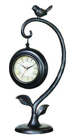 Creative Coop Metal Desk Clock with Bird Accent * You can get more details by clicking on the image.