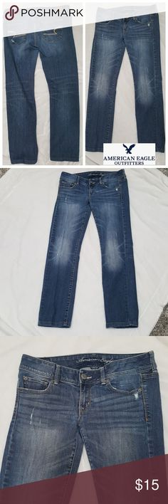 """American Eagle Slim Boot Jeans sz 8 Love these jeans, stylish with stretch & a bit of a distressed look to them. My favorite look for jeans.  Inseam APROX 28.5""""  Shop with confidence I'm a Posh Ambassador 🤗 Will ship next business day American Eagle Outfitters Jeans Boot Cut"""