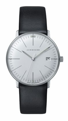 047/4251.00 Max Bill Ladies Watch by Junghans. The simple beauty of this polished white face and accents of luminous paint modernize this quartz movement watch. Calfskin strap in a smooth black makes this a perfect piece for work or play. Shop now! http://www.junghanswatchesusa.net/047425100-Max-Bill-Ladies-_p_248.html