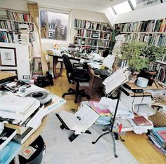 Marina Warner's writing room. All those books and all those piles of paper! A real working room!